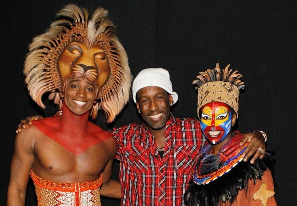 Shawn Stockman of Boyz II Men and NBC's 'The Sing Off' attends 'Disney's THE LION KING at Mandalay Bay' and visits with Buyi Zama and Jelani Remy on January 3, 2011 in Las Vegas, Nevada.