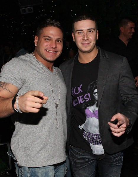 TV personalities Ronnie Ortiz-Magro and Vinny Guadagnino attend Vinny Guadagnino's IHAV clothing line launch party at Greenhouse on January 3, 2011 in New York City.