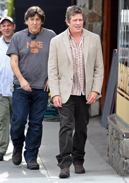 Thomas Haden Church and Cameron Crowe are seen on location for 'We Bought a Zoo' on January 26, 2011 in Los Angeles, California.