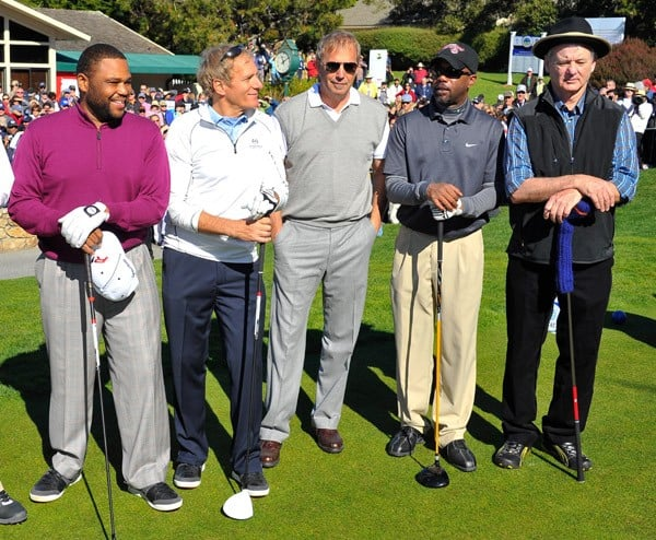 Kenny G, Ray Romano, Anthony Anderson, Michael Bolton, Kevin Costner, Darius Rucker, Craig T. Nelson and Bill Murray participate in the AT&T Pebble Beach National Pro-Am at Pebble Beach Golf Links on February 9, 2011 in Pebble Beach, California.