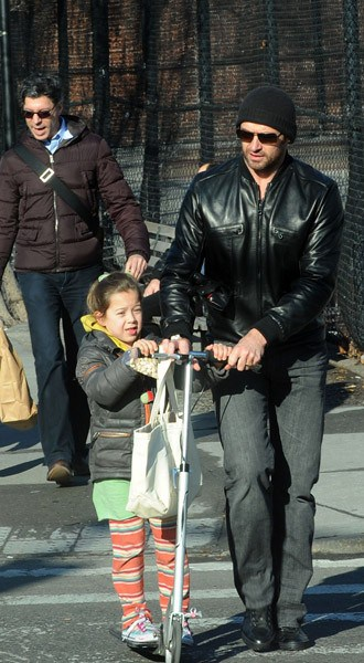 Hugh Jackman and his daughter, Ava Jackman, seen on the streets of Manhattan on February 14, 2011 in New York City.