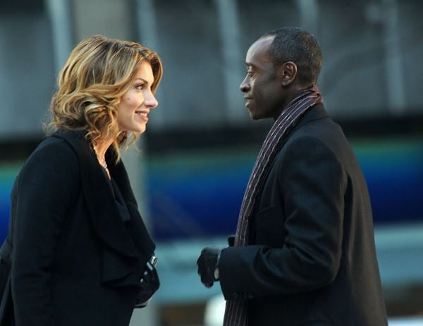 Dawn Olivieri and Don Cheadle filming on location for 'House of Lies' on the Streets of Manhattan on February 6, 2011 in New York City.