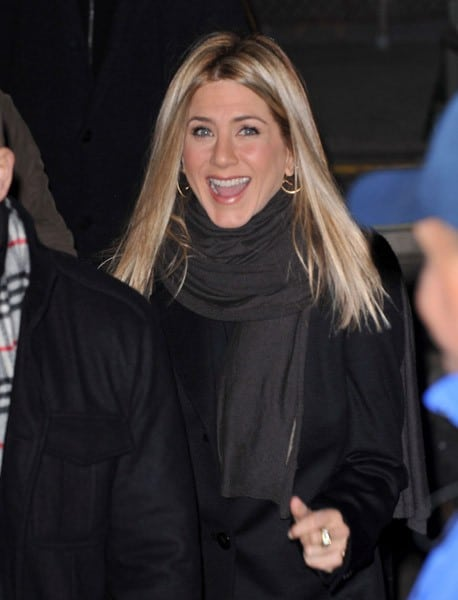 Jennifer Aniston is seen leaving ABC's 'Good Morning America' at ABC's Times Square studios on February 10, 2011 in New York City.
