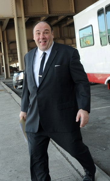 James Gandolfini filming on location for David Chase's new film 'Twylight Zones' on February 9, 2011 in the Brooklyn borough of New York City.