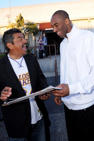 Actor George Lopez and NBA star Kobe Bryant attend the Cartoon Network Hall of Game Awards held at The Barker Hanger on February 21, 2011 in Santa Monica, California.