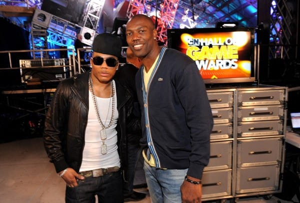 Rapper Nelly and Professional Football Player Terrell Owens attend Cartoon Network Hall of Game Awards held at The Barker Hanger on February 21, 2011 in Santa Monica, California.