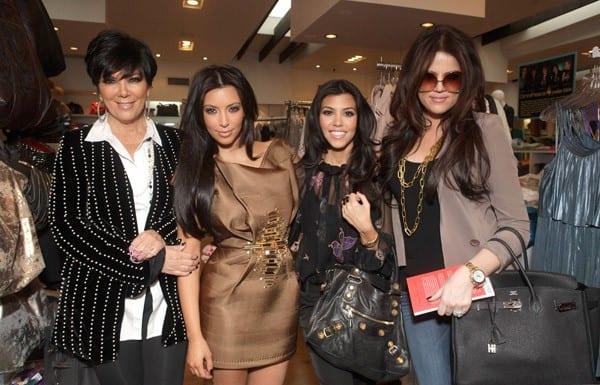 Kris Jenner, Kim Kardashian, Kourtney Kardashian and Khloe Kardashian at the Kardashian Glam Pack Of Silly Bandz Launch Party at Kitson on Roberston on February 4, 2011 in Beverly Hills, California.