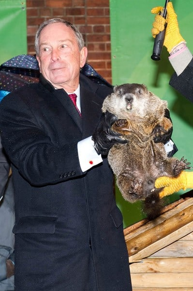 Mayor of New York Michael Bloomberg attends the 2011 Groundhog Day celebration at the Staten Island Zoo on February 2, 2011 in Staten Island borough of New York City.