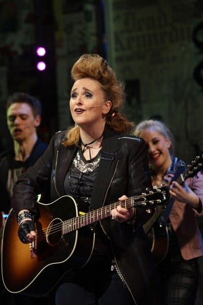 Recording artist Melissa Etheridge takes curtain call as she joins the cast of 'American Idiot' on Broadway at St. James Theatre on February 1, 2011 in New York City.