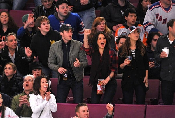 Matthew Morrison and Olivia Munn attend the Philadelphia Flyers VS New York Rangers game at Madison Square Garden on February 20, 2011 in New York City.