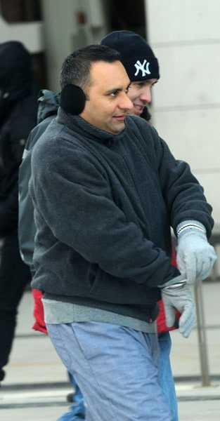 Katherine Heigl and Russell Peters filming on location for 'New Year's Eve' on February 8, 2011 in the Brooklyn borough of New York City.