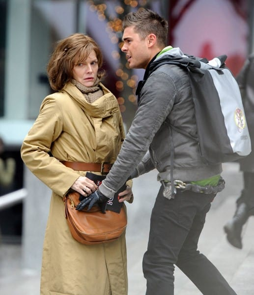 Michelle Pfeiffer and Zac Efron filming on location for 'New Year's Eve' on the streets of Manhattan on February 24, 2011 in New York City.