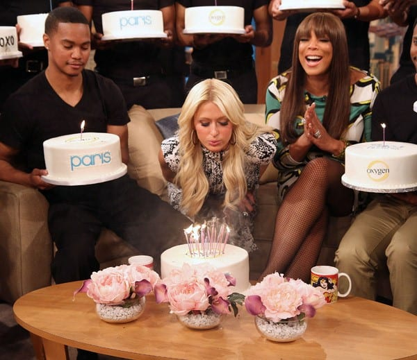 Paris Hilton and Wendy Williams celebrate Paris' 30th birthday on 'The Wendy Williams Show' on February 17, 2011 in New York City.