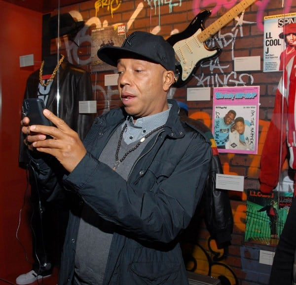 Russell Simmons in The GRAMMY Museum Hip Hop exhibit prior to Icons of the Music Industry: Russell Simmons at The GRAMMY Museum on February 25, 2011 in Los Angeles, California.