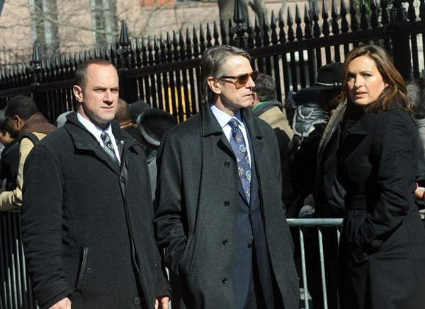 Elizabeth Mitchell, Christopher Meloni, Jeremy Irons and Mariska Hargitay filming on location for 'Law & Order: SVU' on the streets of Manhattan on February 23, 2011 in New York City.