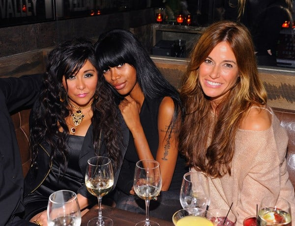 Nicole 'Snooki' Polizzi, model Jessica White and Kelly Bensimon attend the grand opening of TEQA on February 24, 2011 in New York City.