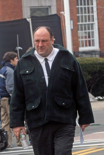 Director David Chase and actor James Gandolfini onset for 'Twylight Zones' on the Streets of Sleepy Hollow on February 17, 2011 in New York City.