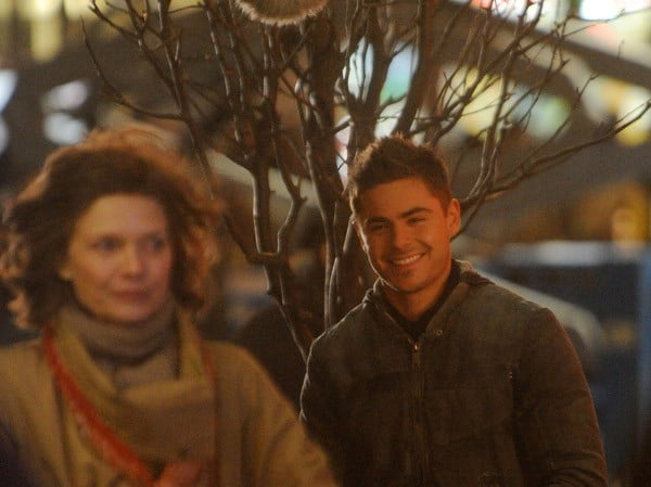 Zac Efron and Michelle Pfeiffer on location for 'New Years Eve' on the Streets of Manhattan on February 25, 2011 in New York City.