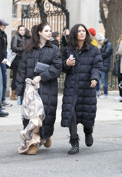 Michelle Trachtenberg & Jessica Szohr Spotted During 'Gossip Girl' Filming on Riverside Drive in New York City on March 9, 2011