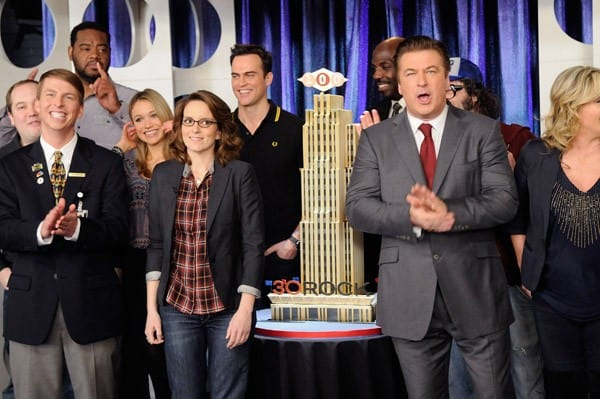 Cast members Jane Krakowski, Tracy Morgan, Jack McBrayer, Katrina Bowden, Tina Fey, Cheyenne Jackson and Alec Baldwin attend the '30 Rock' 100th Episode Celebration at Silver Cup Studios on March 10, 2011 in the Queens borough of New York City.