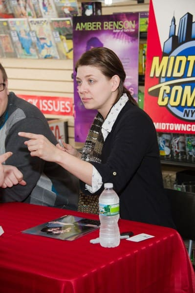 Author Amber Benson promotes her new book 'Serpent's Storm' at Midtown Comics Downtown on March 5, 2011 in New York City.