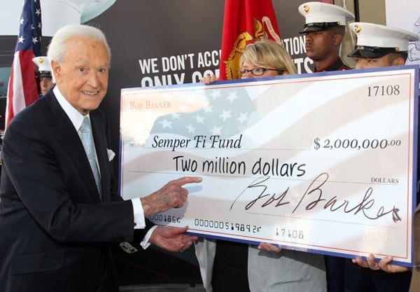 Television personality Bob Barker donates $2 million to the Semper Fi Fund at the US Army Recruiting Station on March 9, 2011 in Hollywood, California.