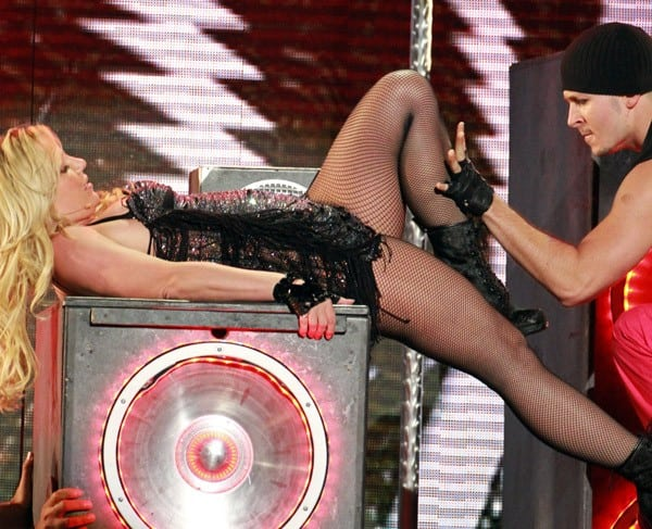 Britney Spears performs on Jimmy Kimmel Live on March 29, 2011 in Los Angeles, California.