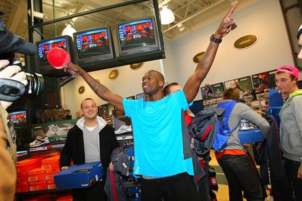 Chad Ochocinco surprises customers with Reebok ZigTech apparel at Dick's Sporting Goods on March 22, 2011 in Carmel, Indiana.