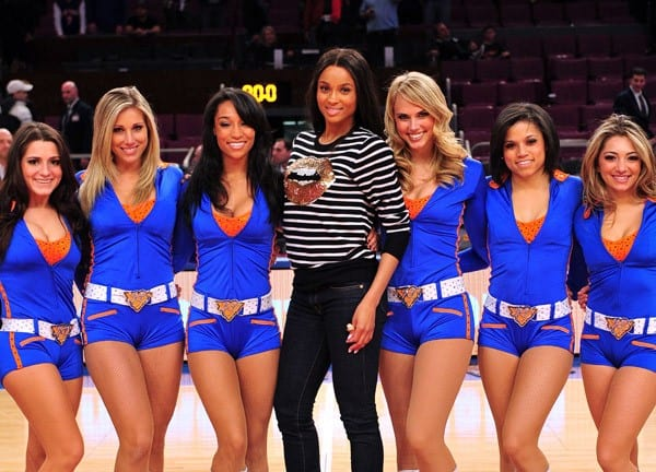Ciara and the Knicks City Dancers pose for photographers after the Indiana Pacers vs New York Knicks game at Madison Square Garden on March 13, 2011 in New York, New York.