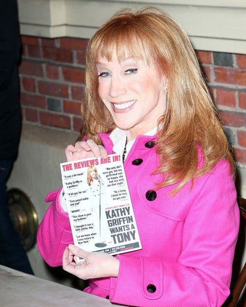 Actress /Comedian Kathy Griffin promotes 'Kathy Griffin Wants A Tony' at the Belasco Theatre on March 8, 2011 in New York City.