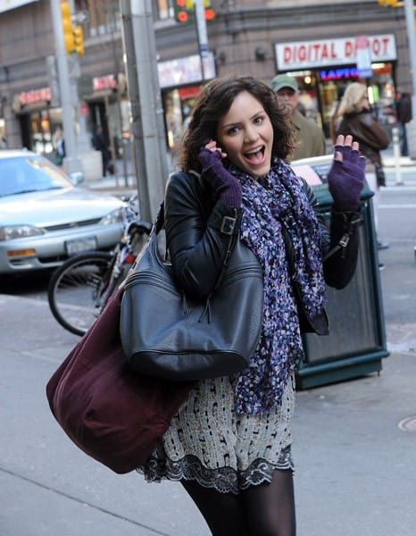 Katharine McPhee and Anjelica Huston filming on location for 'Smash' in Manhattan on March 28, 2011 in New York City.