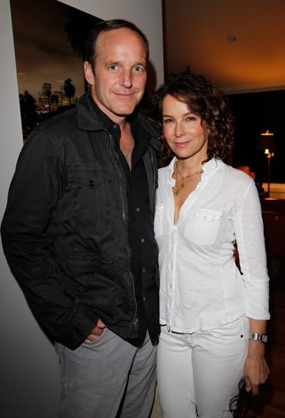 Actors Clark Gregg and Jennifer Grey attend Sunset Cocktails Presented By Leifsdottir on March 12, 2011 in Sherman Oaks, California.