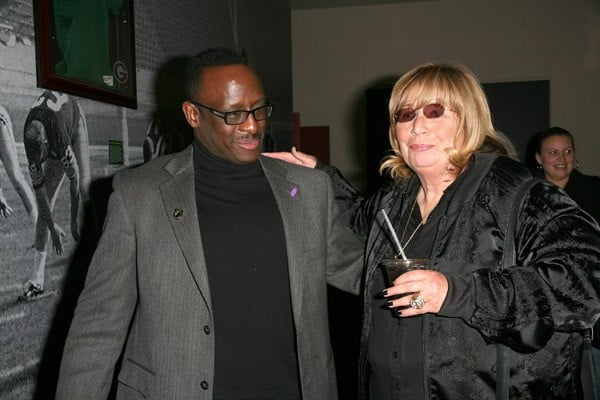 Stephen Baker and Penny Marshall visit 'Lombardi' on Broadway at the Circle in the Square Theatre on March 19, 2011 in New York City.