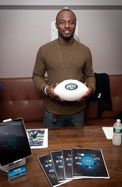 NY Jets football player Santonio Holmes attends a Dealerweb party at The Parlour Midtown on March 10, 2011 in New York City.