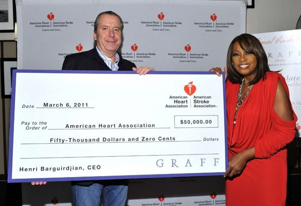 Henri Barguirdjian, President and CEO of GRAFF, and Star Jones attend the 'Celebrity Apprentice' Premiere For American Heart Association at OPIA Lounge at Hotel 57 on March 6, 2011 in New York City.