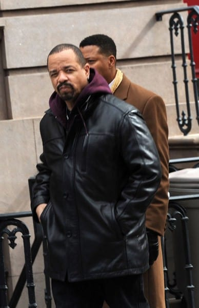 Ice-T and Terrence Howard filming on location for 'Law & Order: SVU' on the streets of Manhattan on March 22, 2011 in New York City.