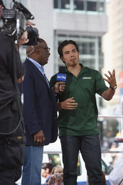 TV personality Al Roker and Apolo Ohno attend ING New York City Marathon opening day at Columbus Circle on April 27, 2011 in New York City.