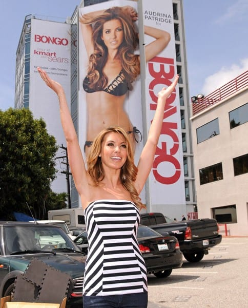 Audrina Patridge unveils her new Bongo swimsuit billboard on Sunset Boulevard on April 7, 2011 in Los Angeles, California.
