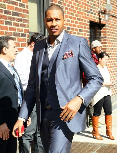 NBA Player Carmelo Anthony arrives at 'Late Show With David Letterman' at the Ed Sullivan Theater on April 14, 2011 in New York City.