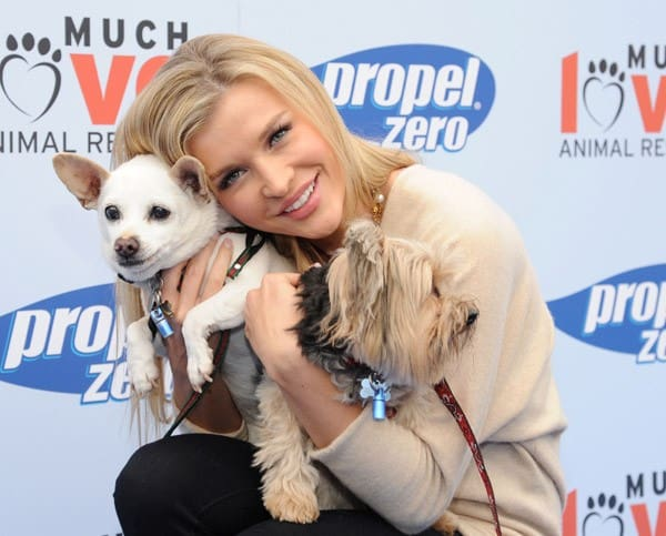 Joanna Krupa and Propel Zero raise money for Much Love Animal Rescue in Malibu to celebrate how our four-legged friends help to keep us active and healthy at Church Estates Vinyard on April 2, 2011 in Malibu, California.