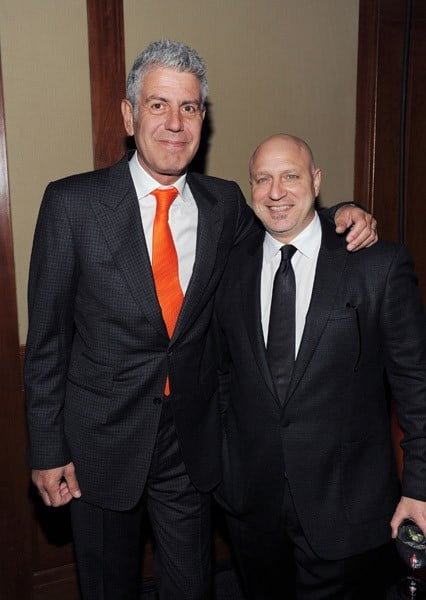 Chefs Anthony Bourdain and Tom Colicchio attend the Food Bank For New York City's Annual Can-Do Awards Gala at Pier Sixty at Chelsea Piers on April 7, 2011 in New York City.