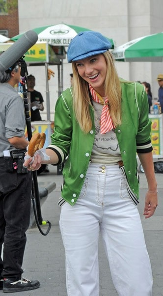 Heather Morris films on location for 'Glee' on the streets of Manhattan on April 29, 2011 in New York City.