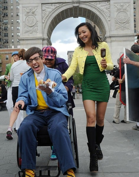 Kevin McHale, Amber Riley and Naya Rivera filming on location for 'Glee' on the streets of Manhattan on April 29, 2011 in New York City.
