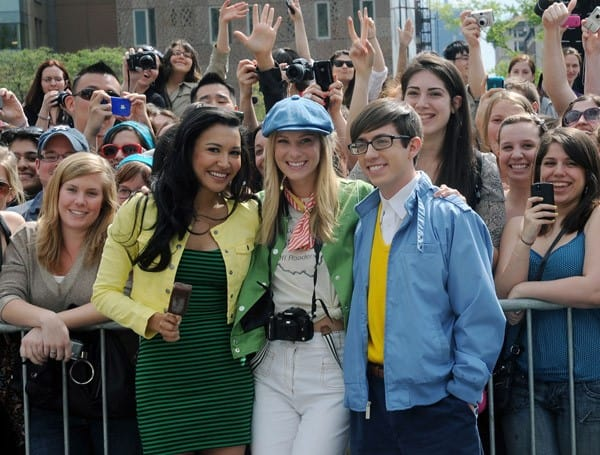 Kevin McHale, Heather Morris and Naya Rivera filming on location for 'Glee' on the streets of Manhattan on April 29, 2011 in New York City.