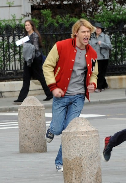 Chord Overstreet films on location for 'Glee' on the streets of Manhattan on April 29, 2011 in New York City.