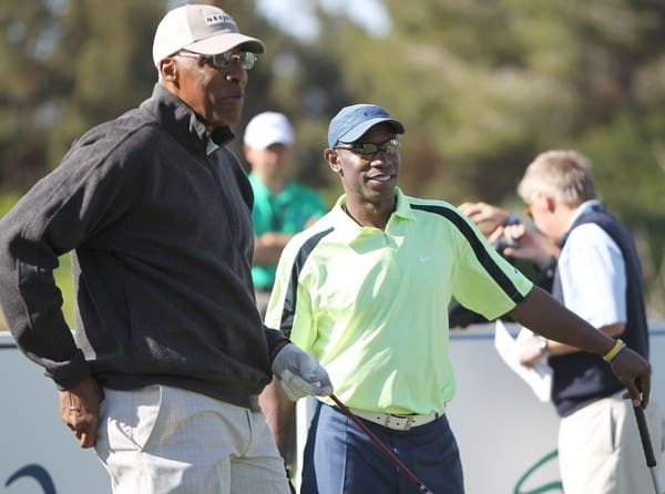 Julius Erving and Kenny Lofton compete in the final round of the 10th Annual Michael Jordan Celebrity Invitational hosted by ARIA Resort & Casino At Shadow Creek on April 3, 2011 in Las Vegas, Nevada.