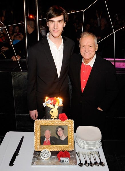 Marston Hefner and his father, Playboy founder Hugh Hefner, celebrate their birthdays with a cake at the Moon nightclub at the Palms Casino Resort April 9, 2011 in Las Vegas, Nevada. Marston Hefner turned 21 and Hugh Hefner turned 85.