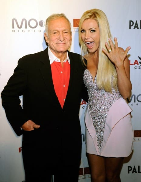Playboy founder Hugh Hefner and his fiancee Crystal Harris celebrate Hefner's 85th birthday at the Playboy Club at the Palms Casino Resort April 9, 2011 in Las Vegas, Nevada.