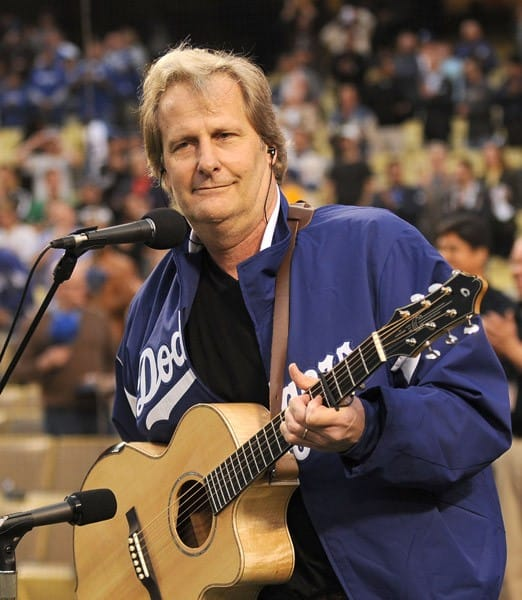 Actor Jeff Daniels sings the National Anthem before The Los Angeles Dodgers game at Dodger Stadium on April 18, 2011 in Los Angeles, California.