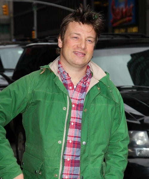 Chef Jamie Oliver departs 'Late Show With David Letterman' at the Ed Sullivan Theater on April 5, 2011 in New York City.